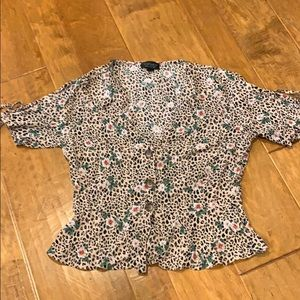 Topshop leopard print and floral peplum blouse